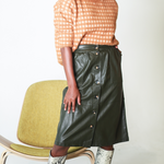 Load image into Gallery viewer, Vegan Leather Midi Skirt