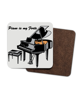 """Piano is my Forte"" - Hardboard Coaster - 4 Pack"