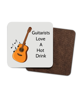 Guitarists Love A Hot Drink Hardboard Coaster - 4 Pack