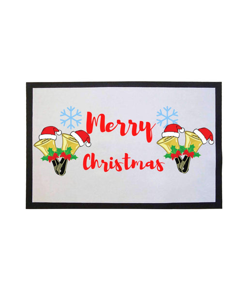 Festive Merry Christmas Handbells - Door Mat