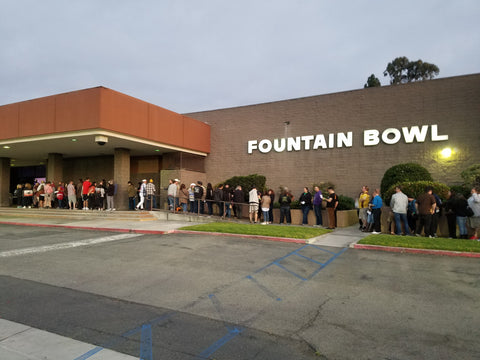 Lebowskifest Crowd lined up for 2019 event on 4/20 at Fountain Bowl in Fountain Valley, CA