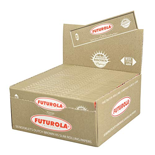50PC Display - Futurola Kingsize Slim Rolling Papers - Assorted Styles (Dutch Brown)