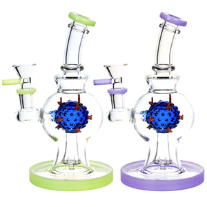 "Coronavirus Covid-19 Perc Glass Water Pipe 7.5"" 14mm F - Assorted Colors"