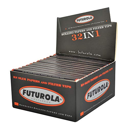 26pc Display - Futurola Rolling Paper w Tips- Kingsize Slim White