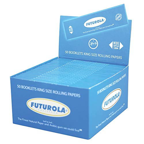 50pc Display - Futurola Kingsize Rolling Papers - Assorted Colors (White)