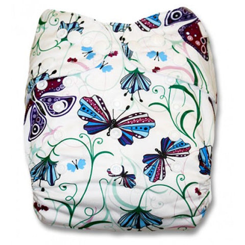 White With Butterflies Pocket