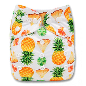 White Yellow Green Pineapples Pocket