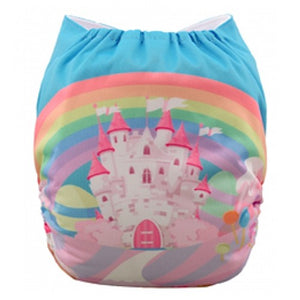 Pink Blue Princess Castle Position Print Pocket