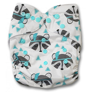 Aqua Grey Raccoons Newborn Cover