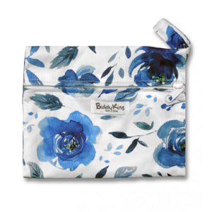 White with Blue Floral Small Wet Bag