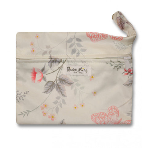 Cream with Flowers & Butterflies Small Wet Bag