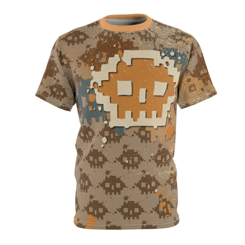 8BIT SKULLS all over print Men's t-shirt by Love Nico.  Retro graphics that pop over a repeat 8-bit pattern.