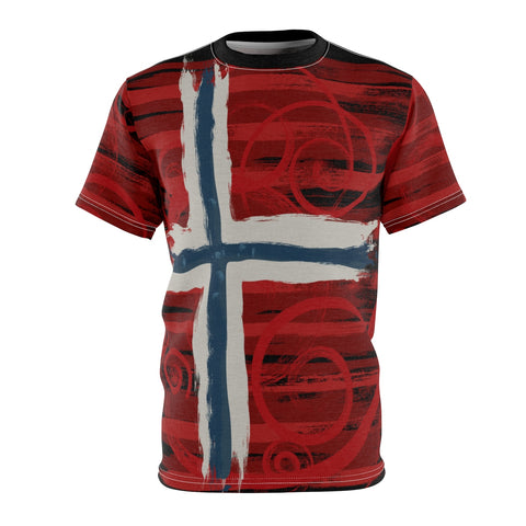 A distressed, edgy, swirly, just plain cool Norwegian flag design- all over print men's t-shirt by Love Nico.