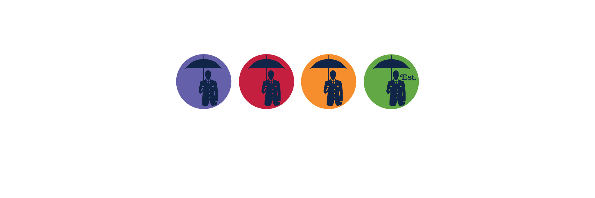 4 circles in different colors. Logo of a man holding umbrella inside.