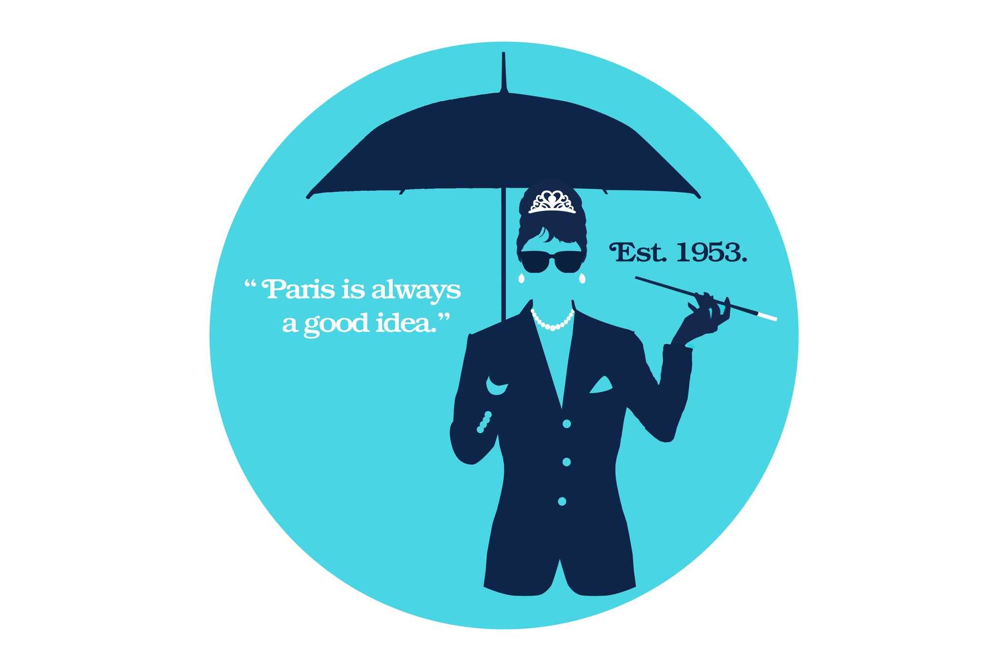 """Illustration of woman holding an umbrella holding a long cigarette holder. Quote """"Paris is always a good idea."""" Established 1953."""