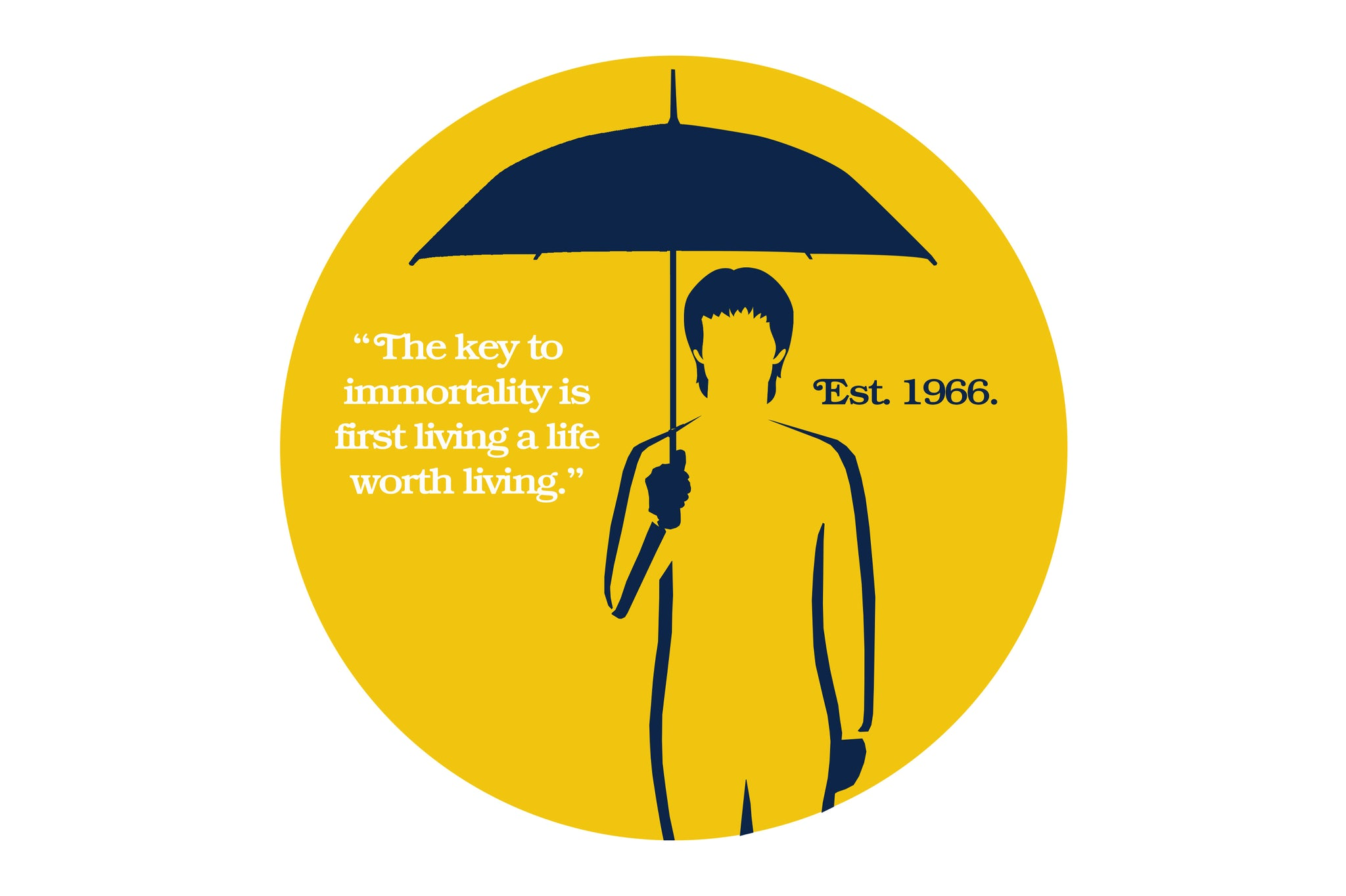 """Illustration of man in yellow jumpsuit holding an umbrella. Quote says """"The key to immortality is first living a life worth living"""". Established 1966."""