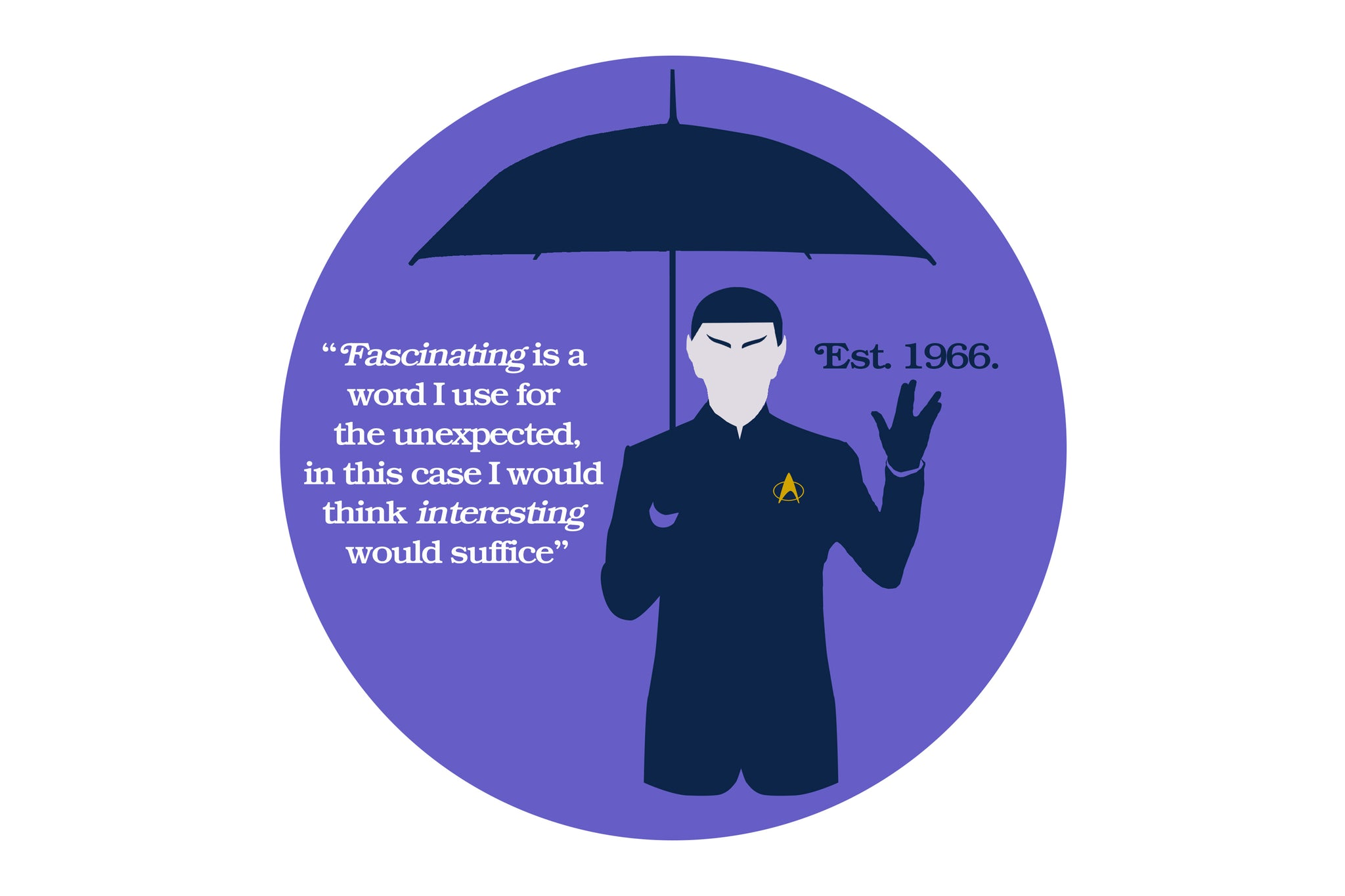 """Illustration of a man with pointed ears holding an umbrella. Quote"""" Fascinating is a word I use for the unexpected, in this case I would think interesting would suffice."""" Established 1966."""