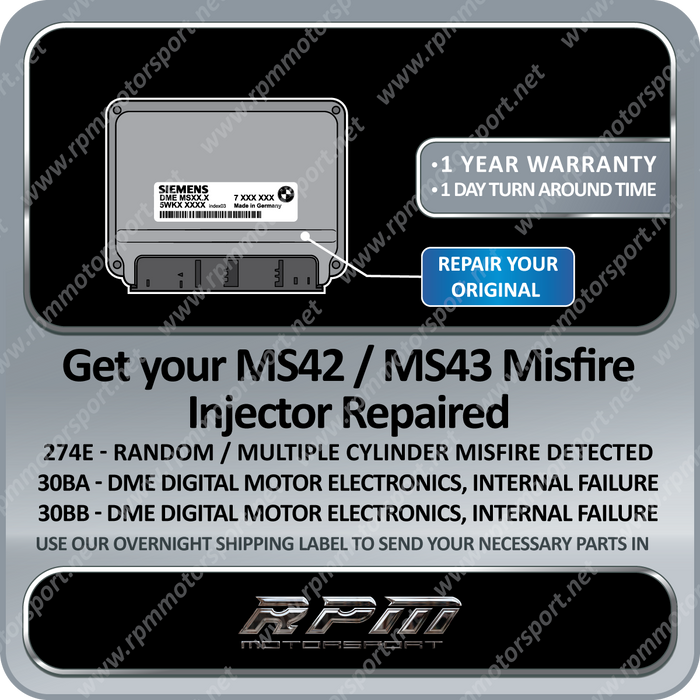 BMW MS42 / MS43 DME/ ECU Injector Misfire Repair Service