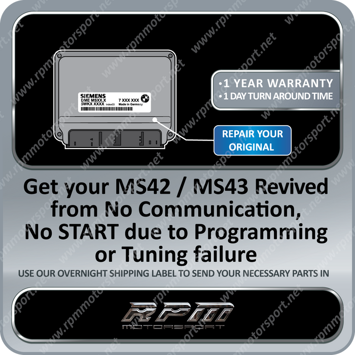BMW MS42 / MS43 ECU Revival - Bricked - No communication - Repair Service