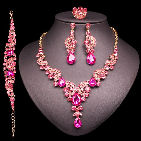 Fashion Indian Bridal Earrings Necklace Set Dubai Luxury Crystal Wedding Jewelry Sets Gold-Color Women's Costume Jewellery Gifts | Shop Latest Jewelry Accessories | Judelry.com