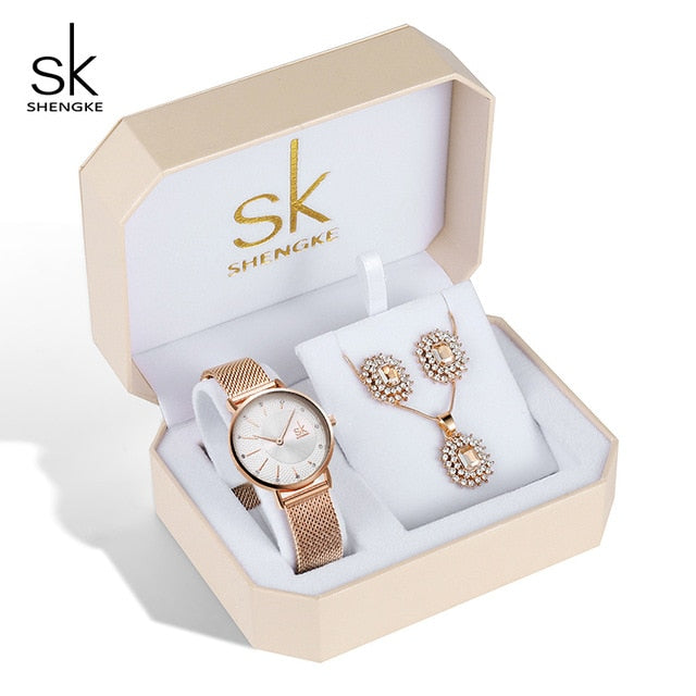 Rose Gold Women jewelry Set Luxury - Earring, Necklace And Watch | Shop Latest Jewelry Accessories | Judelry.com