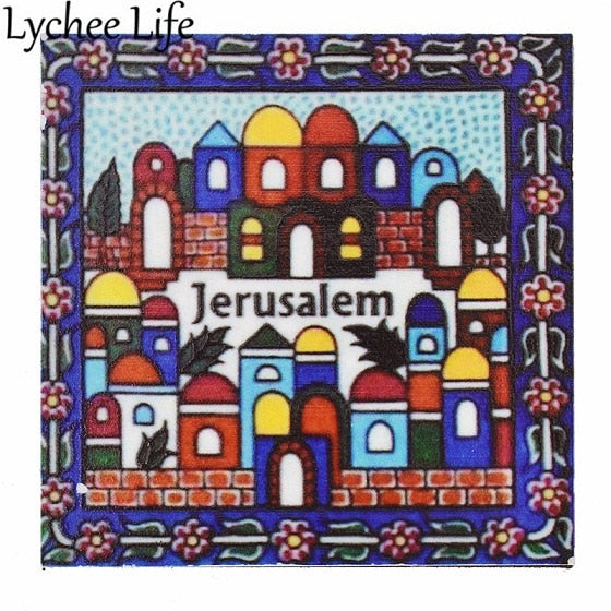 Jerusalem Refrigerator Magnetic Sticker Hit Color City Printed Square Shape Fridge Magnet Modern Home Kitchen Decor