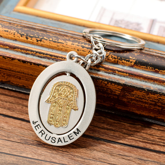 Israel Style Jerusalem Key Chain The Hamasa Hand Keychain Keyring For Men Women Zinc Alloy Key Ring For Key | Shop Latest Jewelry Accessories | Judelry.com