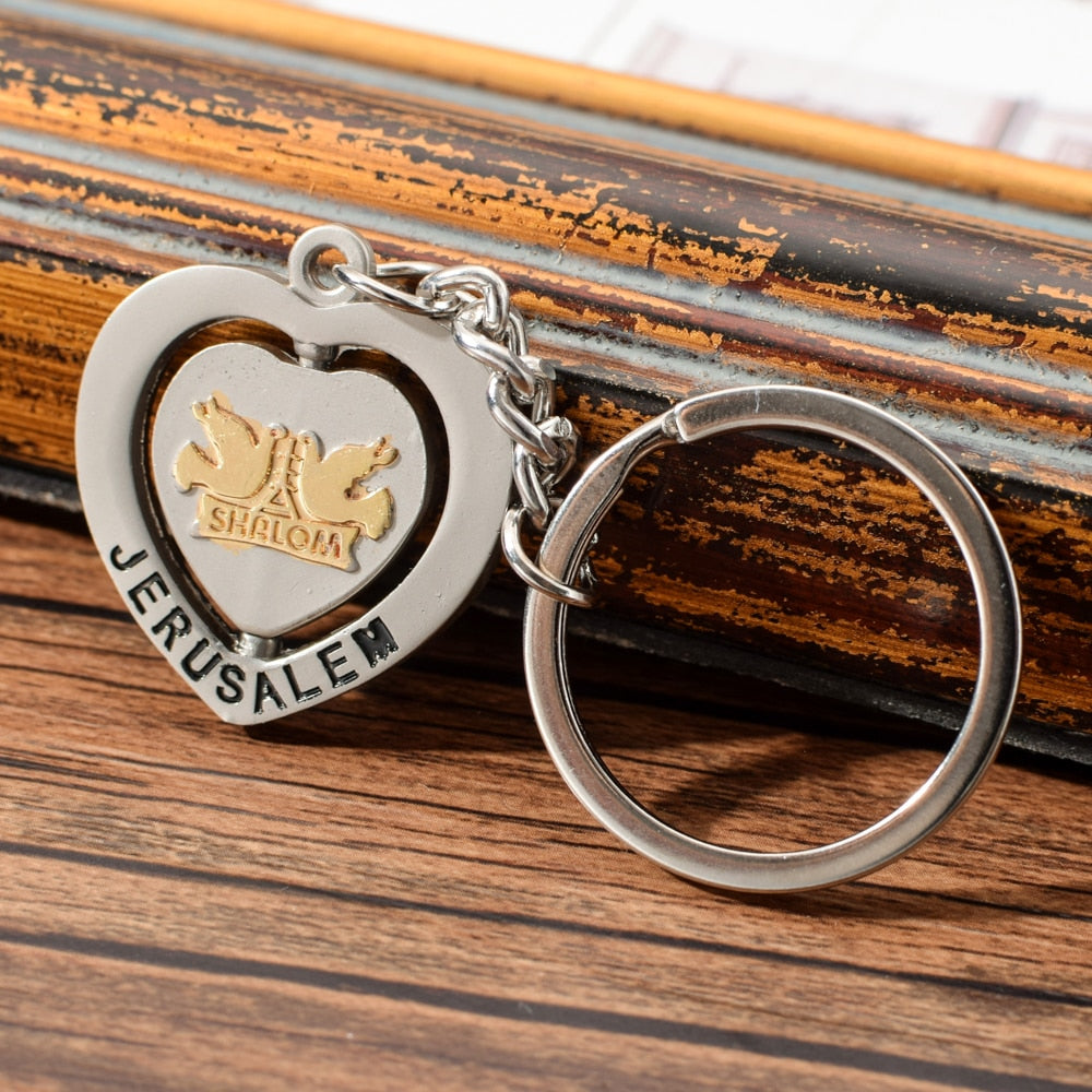 Vicney Jerusalem Heart Keychain Zinc Alloy Key chain Of Shalom Peace Keyring For Men Key Ring For Friends Jerusalem Souvenirs | Shop Latest Jewelry Accessories | Judelry.com