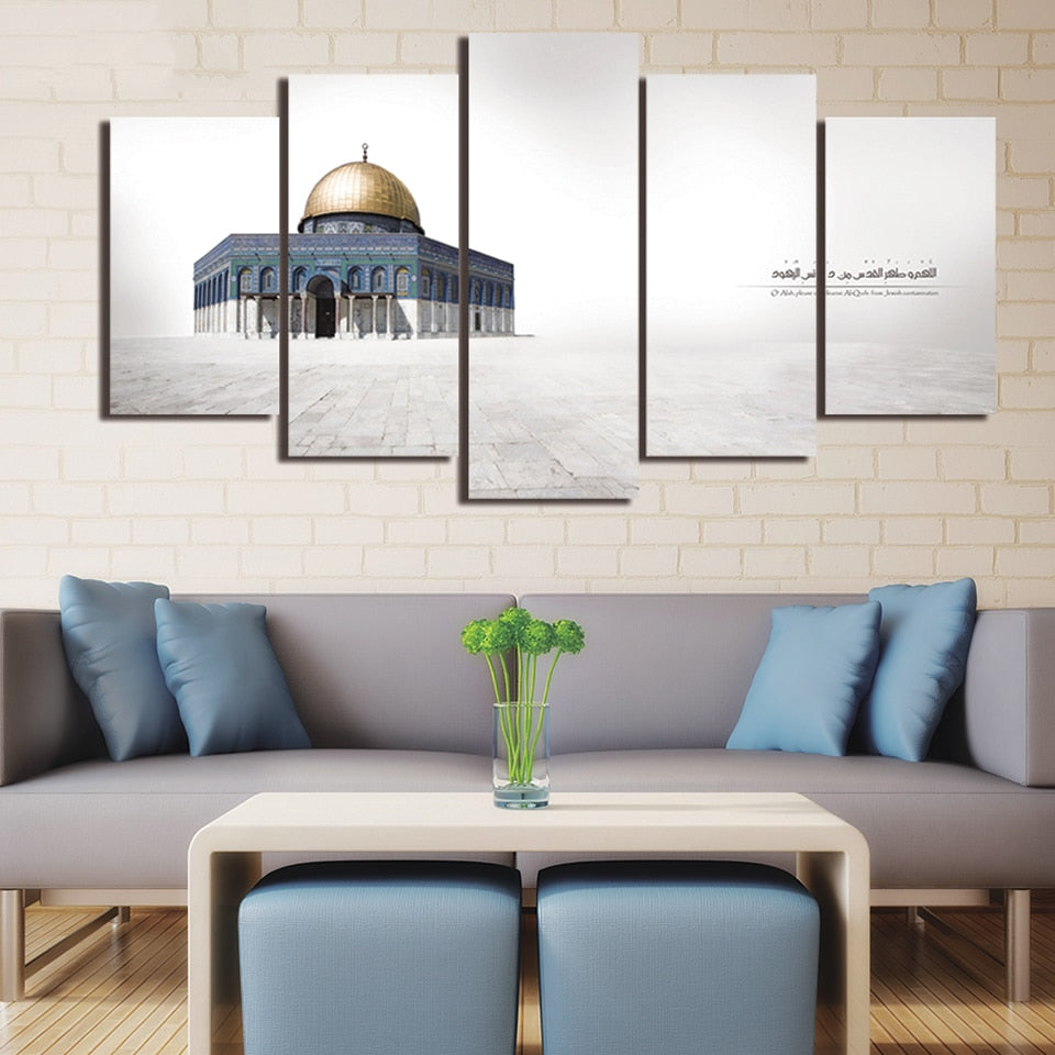 HD Printed Living Room Canvas Modern 5 Panel Jerusalem Al-Aqsa Mosque Painting Wall Art Modular Poster Home Decor Pictures Frame | Shop Latest Jewelry Accessories | Judelry.com