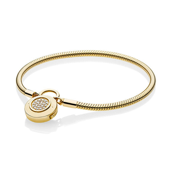 NEW 2018 NEW 100% 925 Sterling Silver Smooth Shine Gold Bracelet Signature Padlock Clear CZ | Shop Latest Jewelry Accessories | Judelry.com