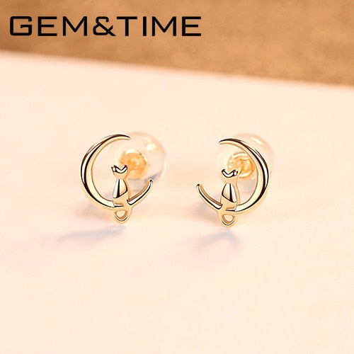 Solid 14K Gold Cute cat on Moon - Gold Stud Earrings for Women