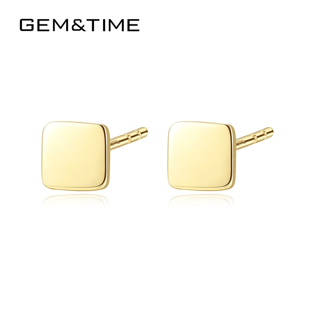 Small Cute Square 14K Gold Stud Earrings - Gold Earring Design | Shop Latest Jewelry Accessories | Judelry.com