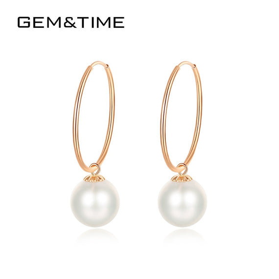 Gem&Time New 18K Gold and Rose Gold Drop Earrings for Women Wedding Engagement Natural Freshwater Pearls Pendientes AU750 E18010 | Shop Latest Jewelry Accessories | Judelry.com
