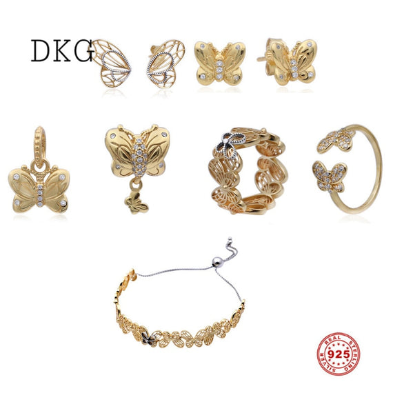 925 Sterling Silver , Gold coloer set -  Butterfly Charm | Shop Latest Jewelry Accessories | Judelry.com