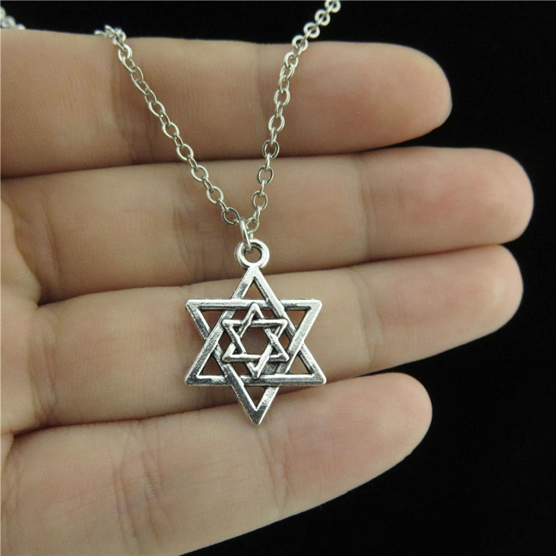 "Men Jewelry Silver Two Star White gold of David Jewish Pendant Chain Collar Necklace 18"" Religious Faith 