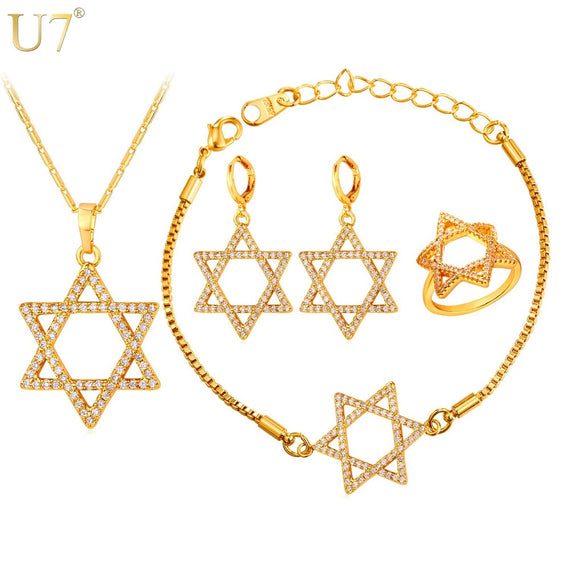 Jewish Jewelry Magen Gold Star of David Necklace Bracelet Ring And Earrings Gold Color | Shop Latest Jewelry Accessories | Judelry.com