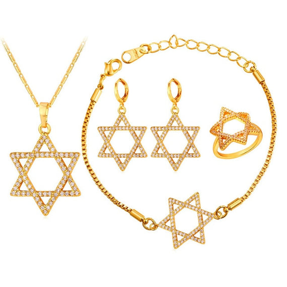 Magen David Star Jewelry Sets For Women Gold/Silver Zircon | Shop Latest Jewelry Accessories | Judelry.com
