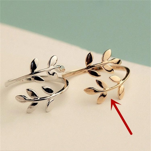 Charms Two colors Olive Tree Branch Leaves Open Ring for Women Girl Wedding Rings Adjustable Knuckle Finger Jewelry