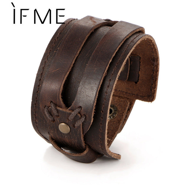 Men Leather Bracelet Open Cuff Rope Bangles & Bracelet Double Wide Black Brown Color Vintage Punk Unisex Jewelry | Shop Latest Jewelry Accessories | Judelry.com