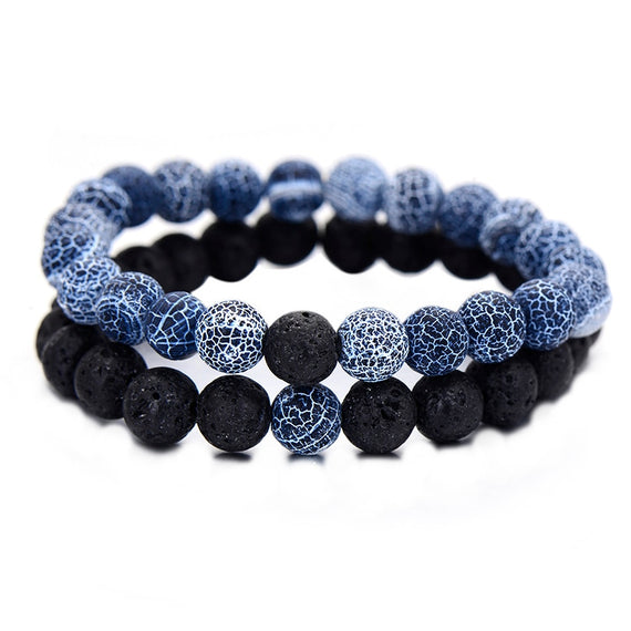 2Pcs/Set Couples Jewelry Classic Distance Bracelet Bangle For Men Black Lava Beaded Bracelets Matching Yin Yang | Shop Latest Jewelry Accessories | Judelry.com