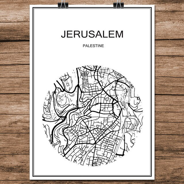Abstract World City Street Map JERUSALEM Palestine Print Poster Coated Paper Cafe Living Room Home Decor Wall Sticker 42x30cm | Shop Latest Jewelry Accessories | Judelry.com