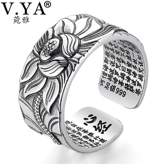 100% Real 999 Pure Silver Jewelry Lotus Flower Open Ring For Men Male Fashion Free Size Buddhistic Heart Sutra Rings Gifts | Shop Latest Jewelry Accessories | Judelry.com