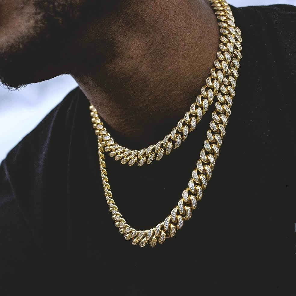 "20"" 24"" 28"" Hiphop Bling Jewelry Necklace for Men Iced Out Miami Curb Cuban Link Chain Gold Silver Color CZ necklace 