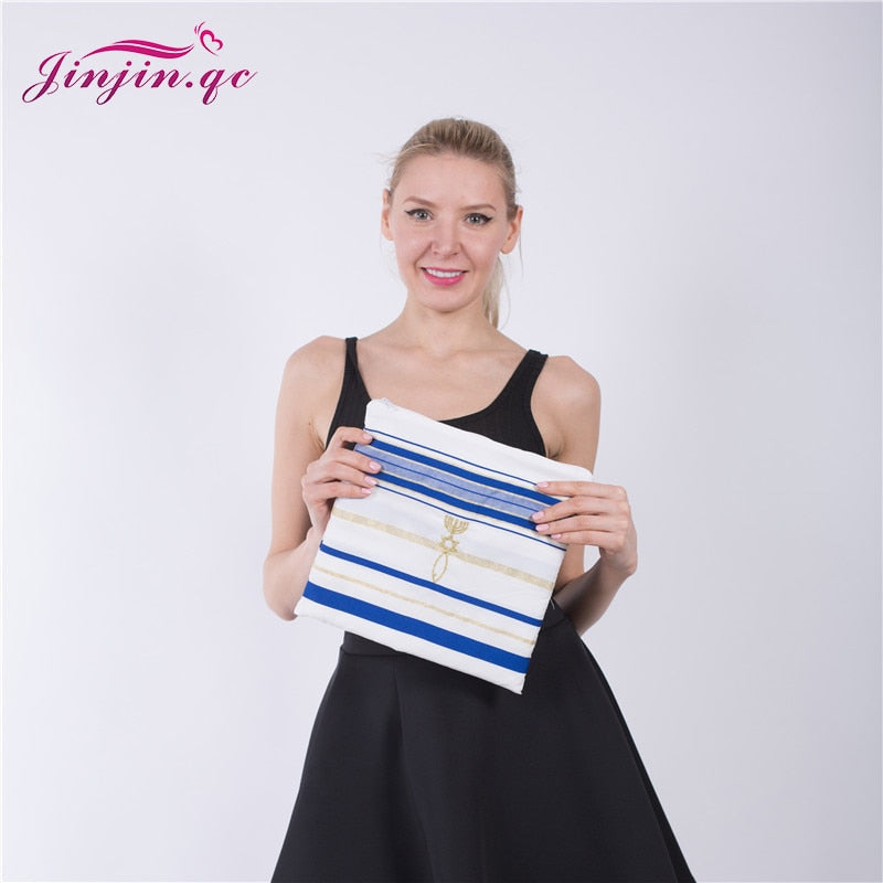 "Jinjin.QC 72x22"" (Approx) Messianic Jewish Tallit Blue and Gold Prayer Shawl Talit and Talis Bag Prayer scarves and Shawls 