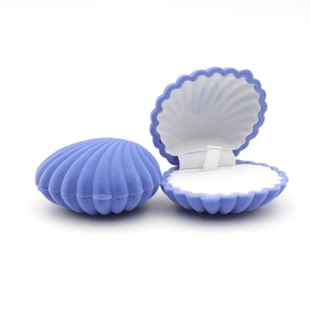 Shell Shape Lovely Velvet. Ring Box For Earrings, Necklace, Bracelet, Jewelry Display Gift Box Holder