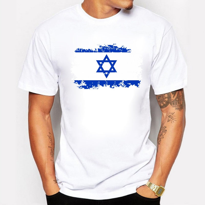 BLWHSA Israel National Flag Printed Tshirts For Men  Summer Cotton Casual T-shirts Nostalgic Fashion Style O-neck Tee Tops | Shop Latest Jewelry Accessories | Judelry.com