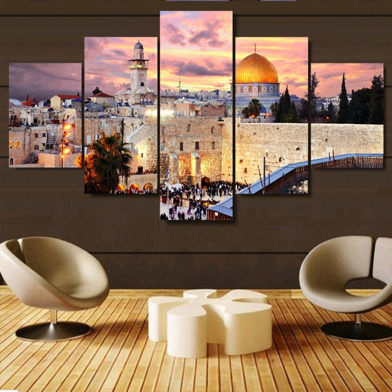 Wall Art Painting 5 Panel Canvas Printed Jerusalem Sunset Landscape Poster Modern Home Decor For Living Room Artwork Pictures | Shop Latest Jewelry Accessories | Judelry.com