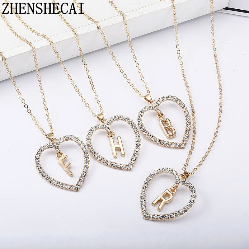 2018 Simple gold Color love heart necklaces & pendants double Rhinestone choker necklace women statement jewelry Bijoux x1 | Shop Latest Jewelry Accessories | Judelry.com