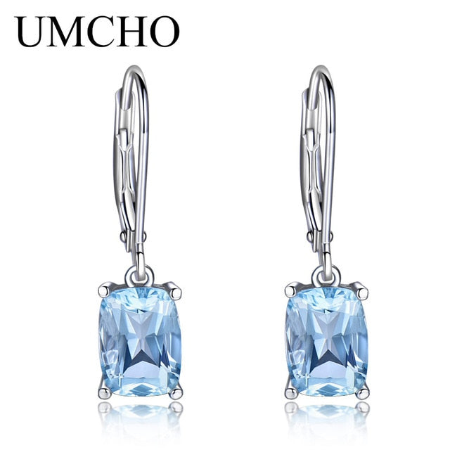 UMCHO Genuine 925 Sterling Silver Sky Blue Topaz Drop Earrings Elegant Gemstone Wedding Engagement Jewelry For Women Gifts | Shop Latest Jewelry Accessories | Judelry.com