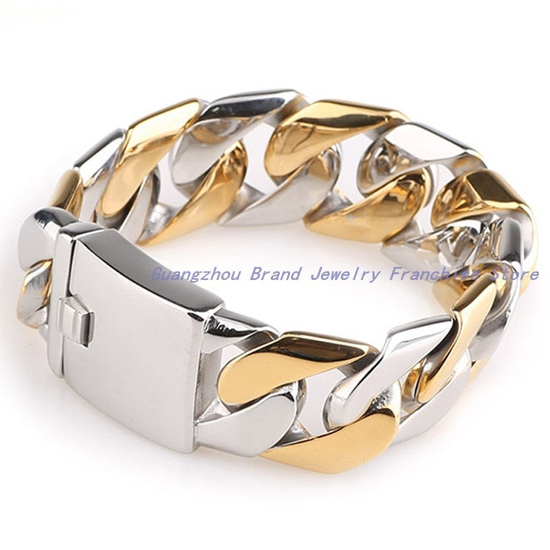 High-Tech Fully Polished Trendy Jewelry 316L Stainless Steel Silver Gold Men's Bracelets, Gold bangles design | Shop Latest Jewelry Accessories | Judelry.com
